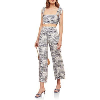 Reformation Tiki Print Tie Shoulder Two-Piece Jumpsuit, Blue