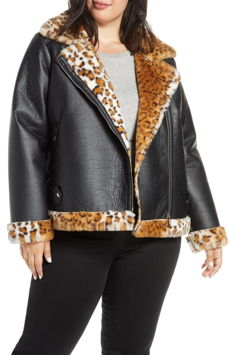 SAM EDELMAN Oversize Faux Shearling Moto Jacket, Main, color, BLACK/ LEOPARD