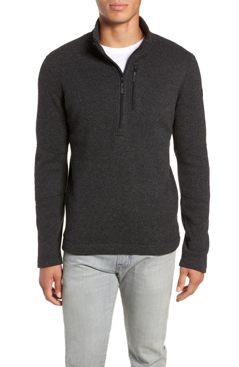 SMARTWOOL Hudson Trail Regular Fit Fleece Half-Zip Sweater, Main, color, DARK CHARCOAL