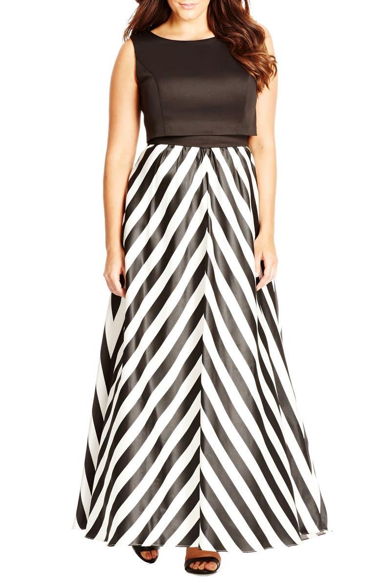 City Chic Chevron Skirt Satin Maxi Dress (Plus Size) | Nordstrom