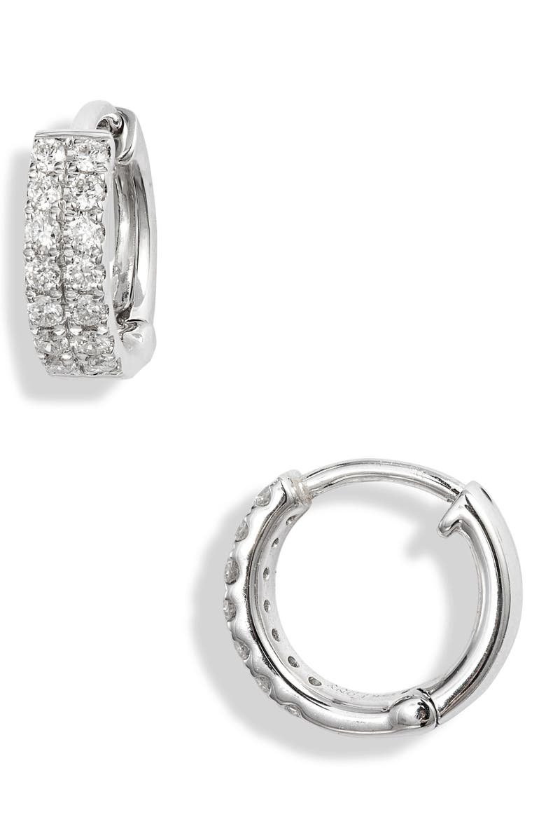 BONY LEVY Simple Obsession Two-Row Diamond Huggie Hoop Earrings, Main, color, WHITE GOLD/ DIAMOND