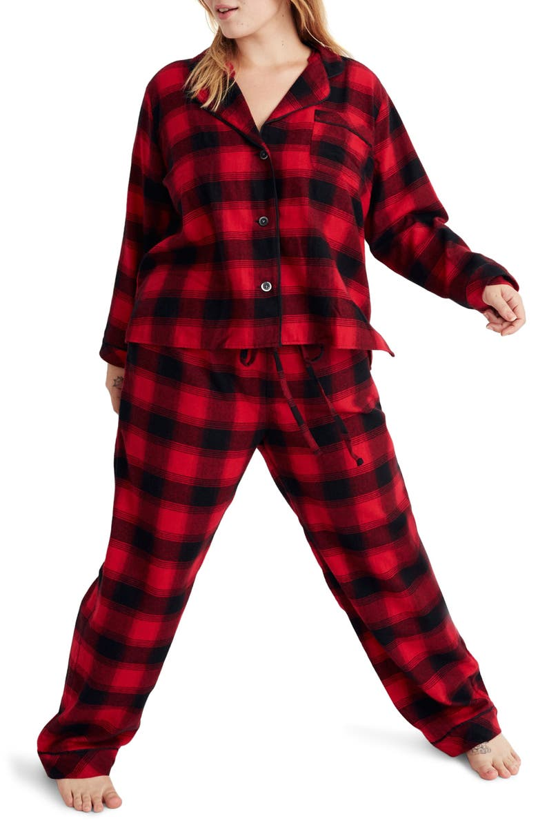 MADEWELL Buffalo Plaid Flannel Bedtime Pajamas, Main, color, BABYLON BUFFALO CRANBERRY