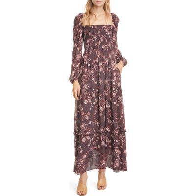 Dolan Stratton Floral Square Neck Long Sleeve Maxi Dress, Brown