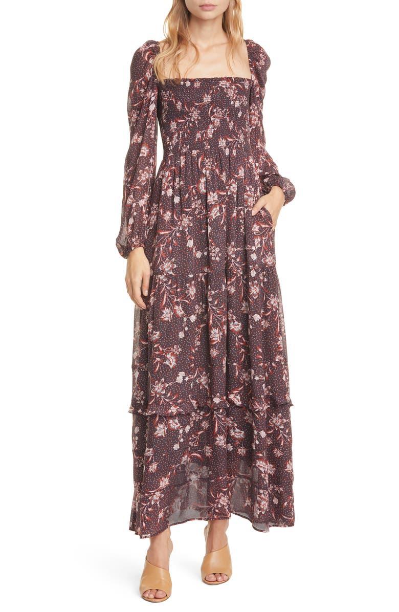 DOLAN Stratton Floral Square Neck Long Sleeve Maxi Dress, Main, color, CARBON DOT FLORAL