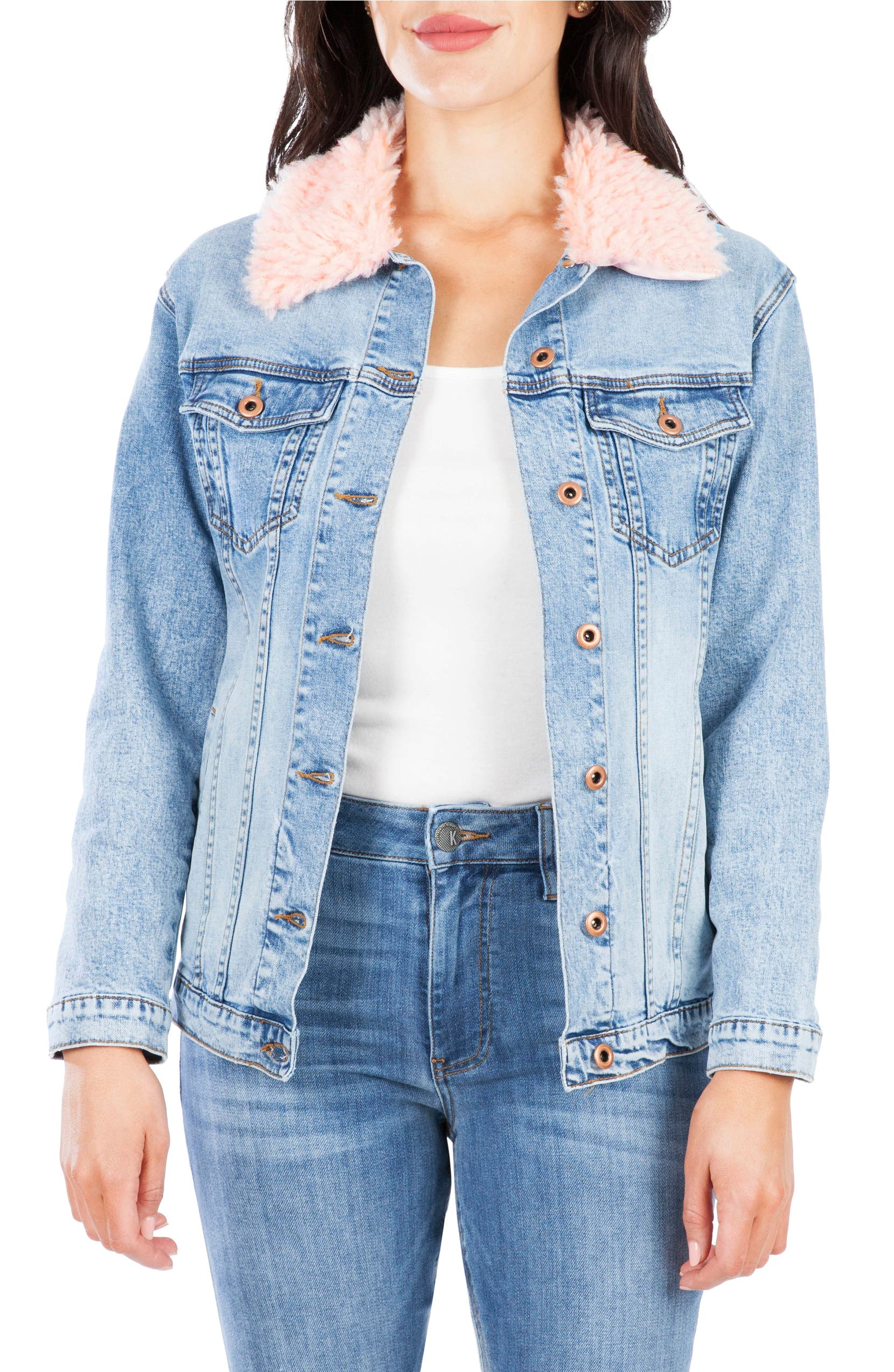 KUT from the Kloth Faux Shearling Collar Denim Boyfriend Jacket