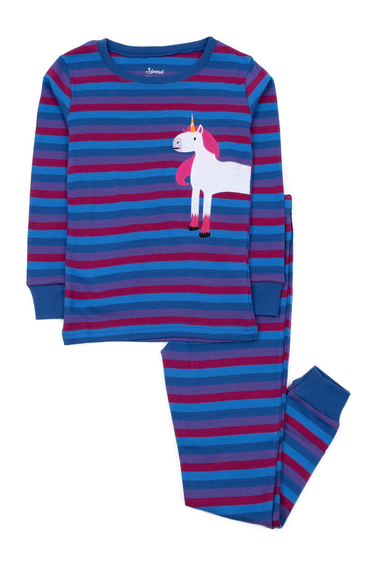 Image of Leveret Unicorn Stripes Cotton Pajamas