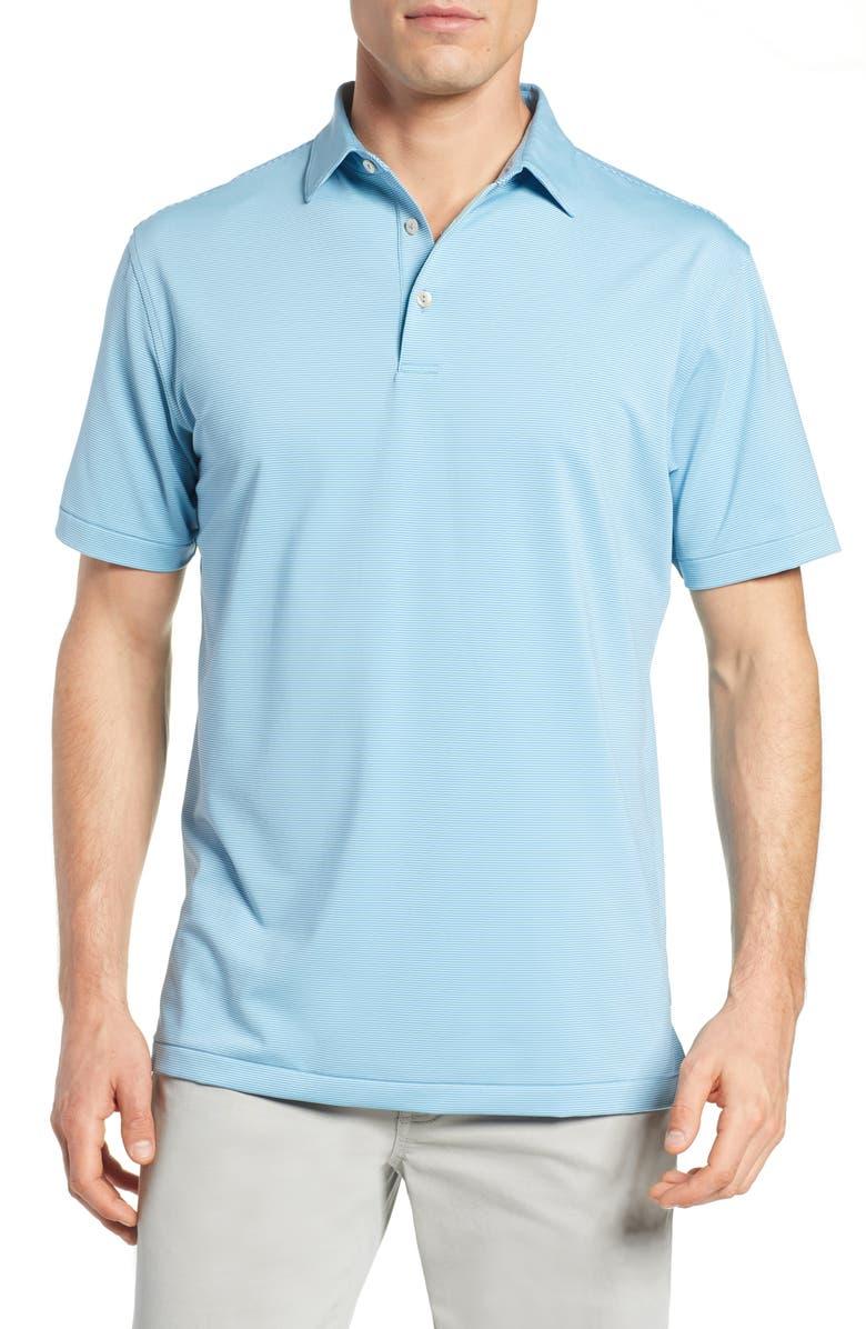 PETER MILLAR Jubilee Regular Fit Stripe Jersey Polo, Main, color, IBERIAN BLUE