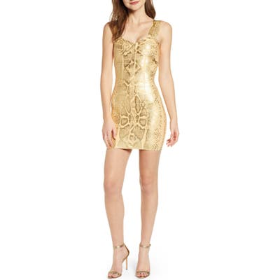 Sentimental Ny Metallic Bandage Body-Con Dress, Metallic