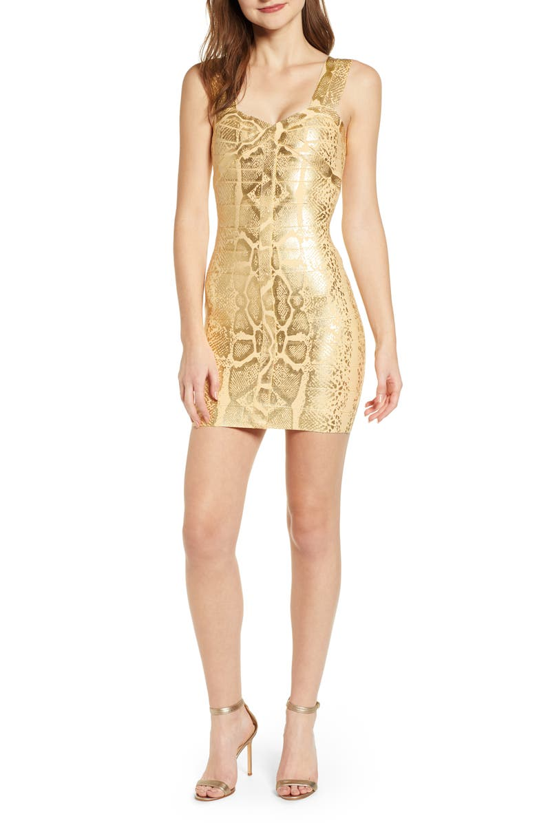 SENTIMENTAL NY Metallic Bandage Body-Con Dress, Main, color, GOLD