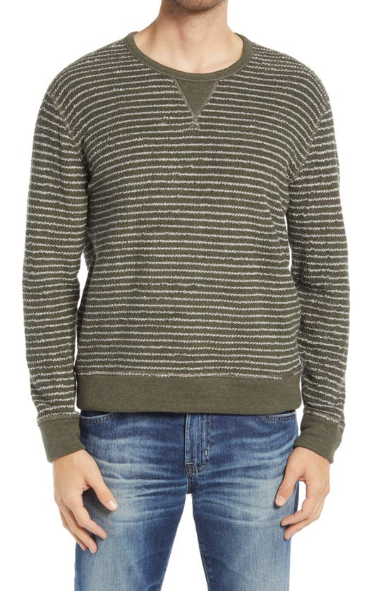 Rails Heston Reversible Stripe Crewneck Sweater In Olive Heather Grey Stripe