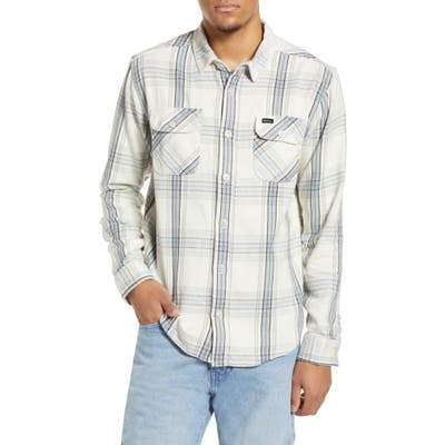 Rvca Reverberation Plaid Button-Up Flannel Shirt, Grey