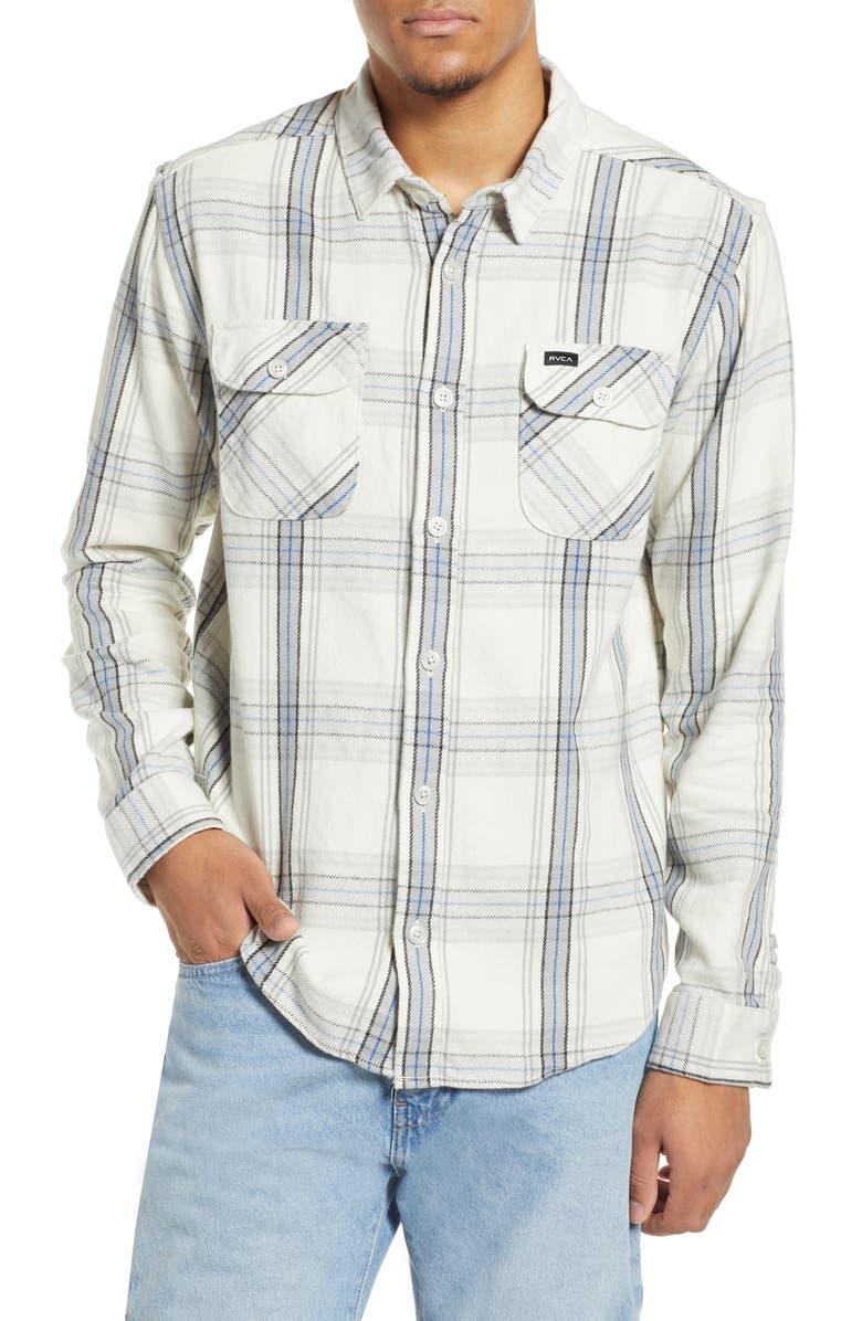 RVCA Reverberation Plaid Button-Up Flannel Shirt, Main, color, 020