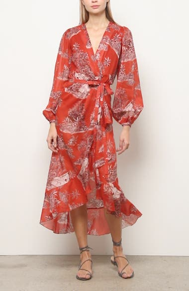 Toile Palm Print Long Sleeve Cover-Up Wrap, video thumbnail