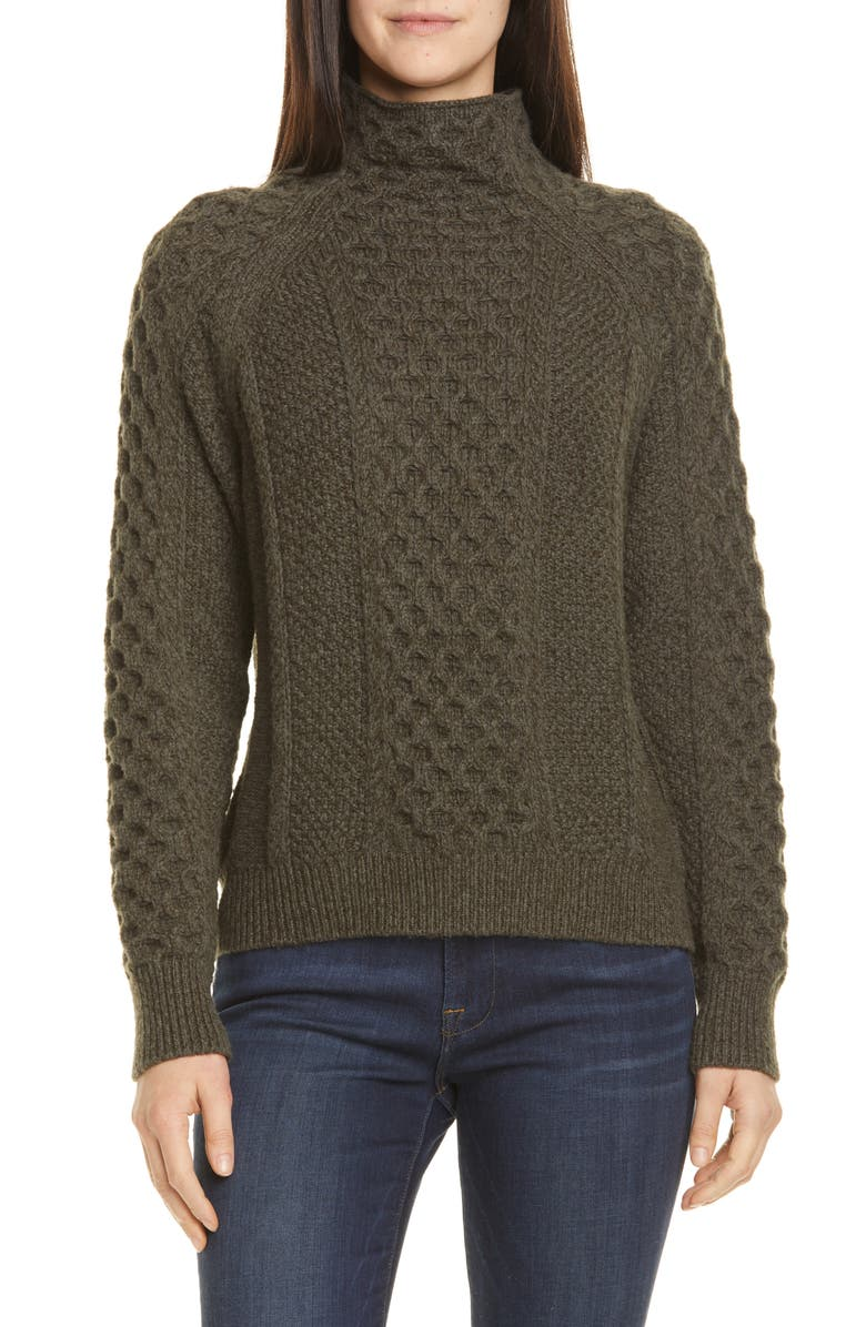 VINCE Mixed Cable Wool & Cashmere Blend Sweater, Main, color, 340