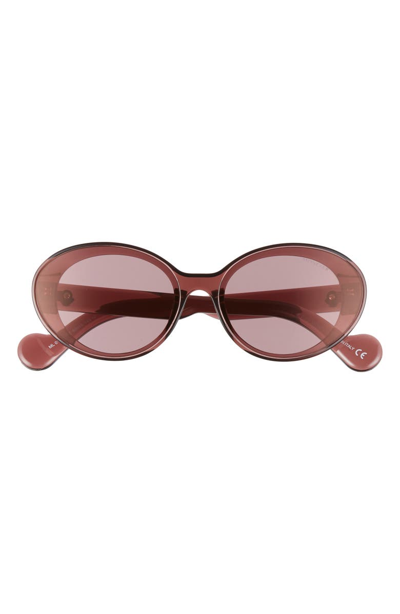MONCLER 60mm Oval Sunglasses, Main, color, BURGUNDY/ PINK W/ GOLD