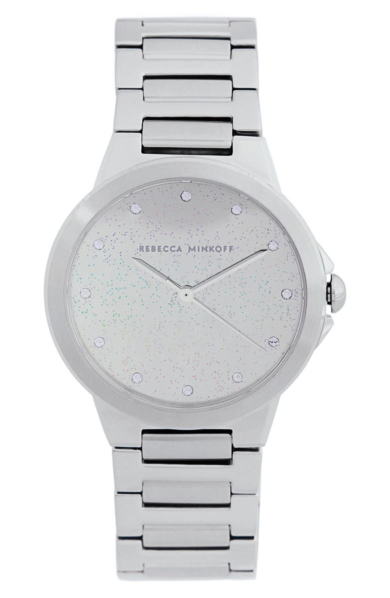 REBECCA MINKOFF Cali Bracelet Watch, 34mm, Main, color, SILVER