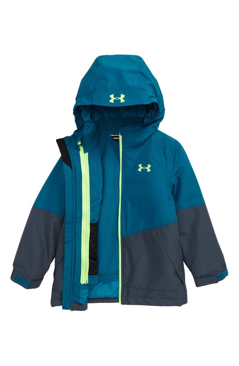 UNDER ARMOUR Westward 3-in-1 Windproof & Waterproof Hooded Jacket, Main, color, TEAL VIBE
