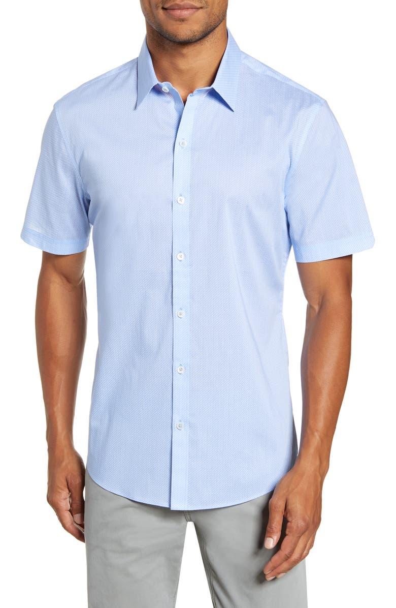 ZACHARY PRELL Fuchs Regular Fit Short-Sleeve Button-Up Sport Shirt, Main, color, LT BLUE