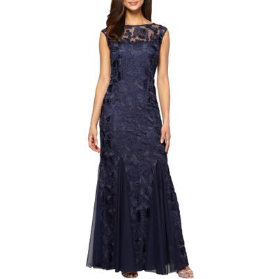 Alex Evenings Tulle Mermaid Gown, Blue