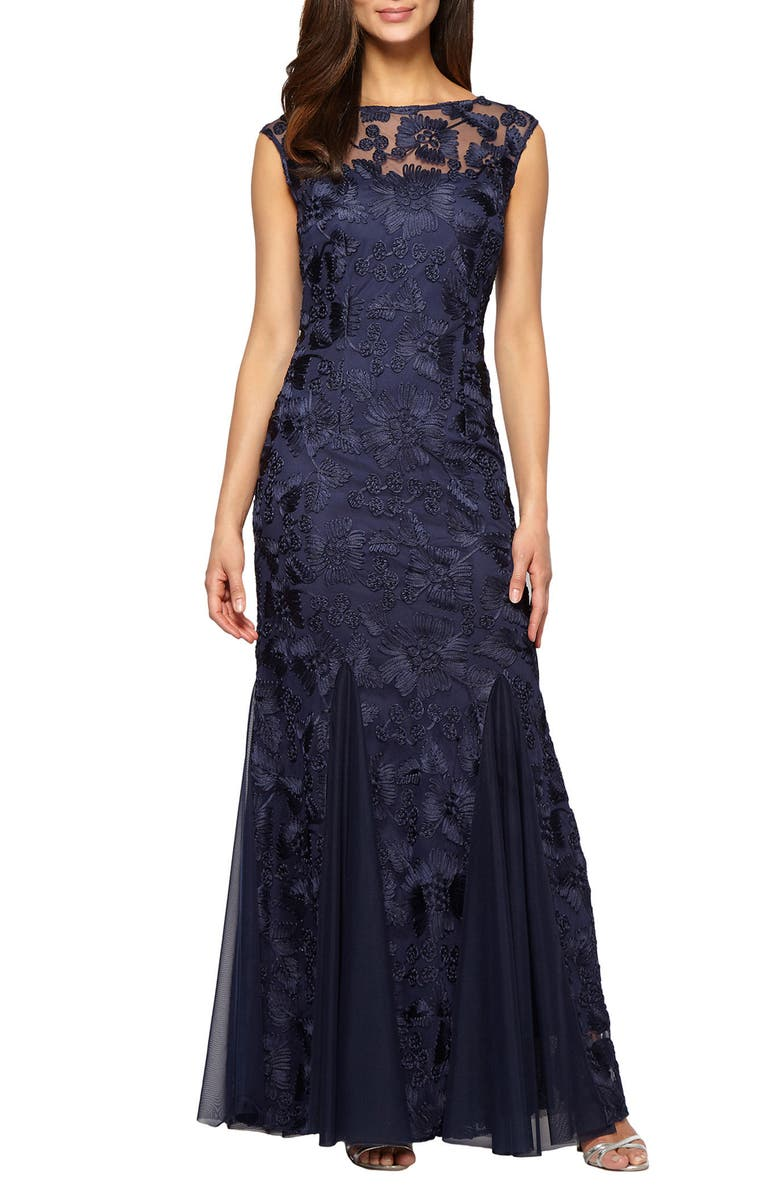 ALEX EVENINGS Tulle Mermaid Gown, Main, color, NAVY