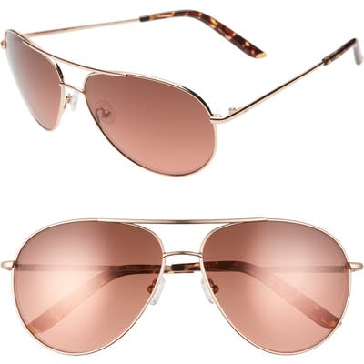 Nike Chance 61Mm Mirrored Aviator Sunglasses - Rose Gold/ Tort Copper