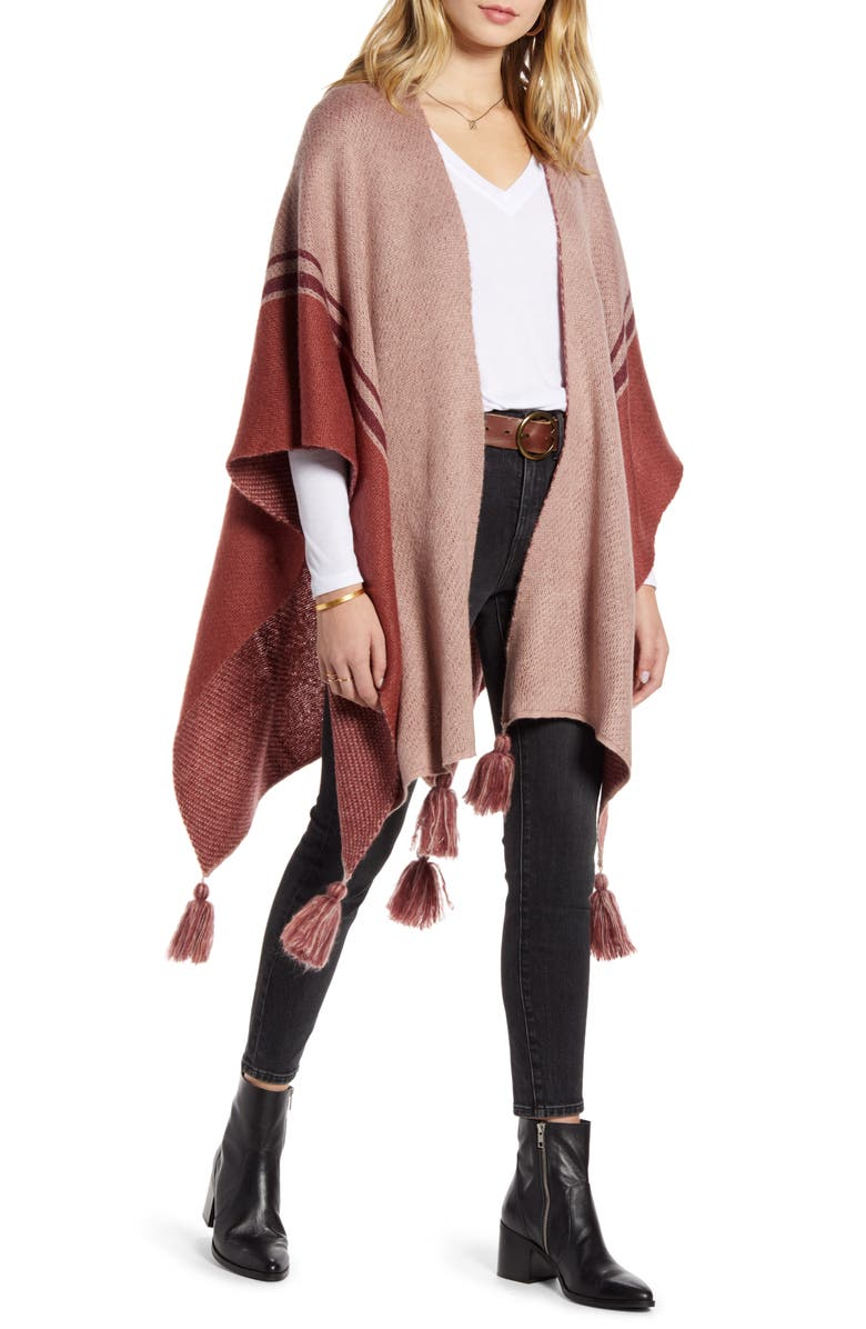 TREASURE & BOND Tassel Knit Ruana, Main, color, PINK COMBO