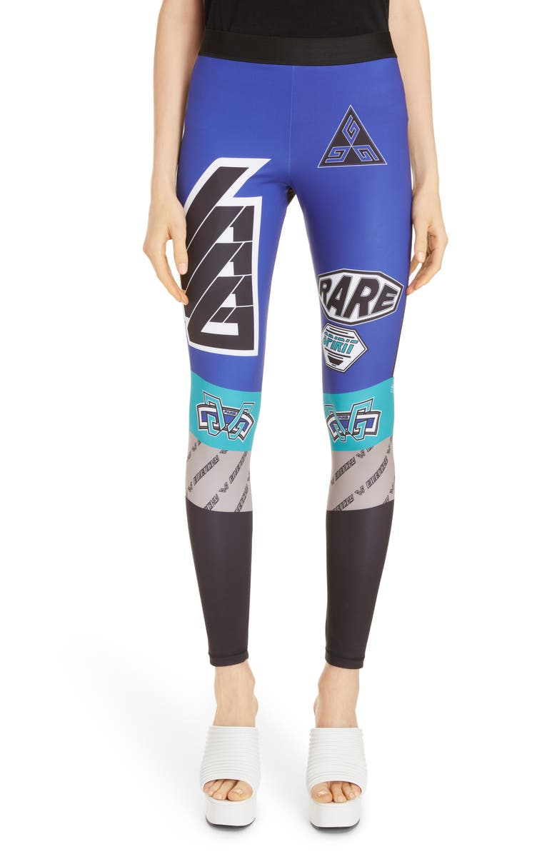 GIVENCHY Logo Leggings, Main, color, BLACK/ BLUE