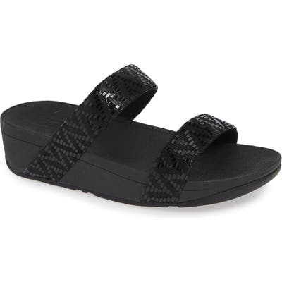 Fitflop Lottie Chevron Wedge Slide Sandal, Black