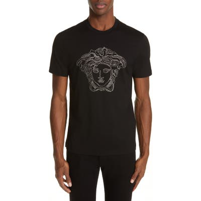 Versace Beaded Medusa T-Shirt, Black