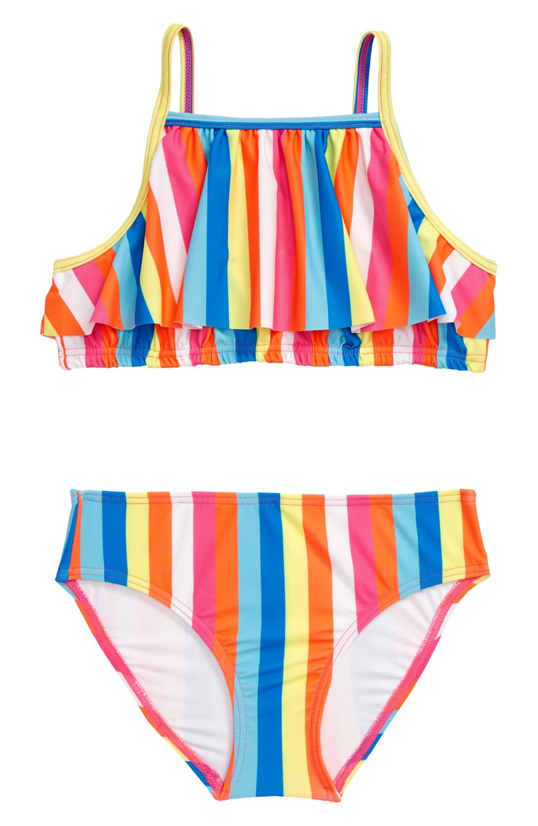 TUCKER + TATE Ruffle Bubble Two-Piece Swimsuit, Main, color, PINK FLASH GROOVY STRIPE
