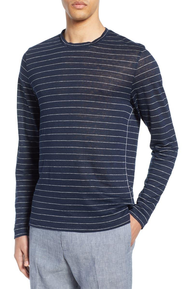 CLUB MONACO Long Sleeve Stripe Linen T-Shirt, Main, color, NAVY AND WHITE