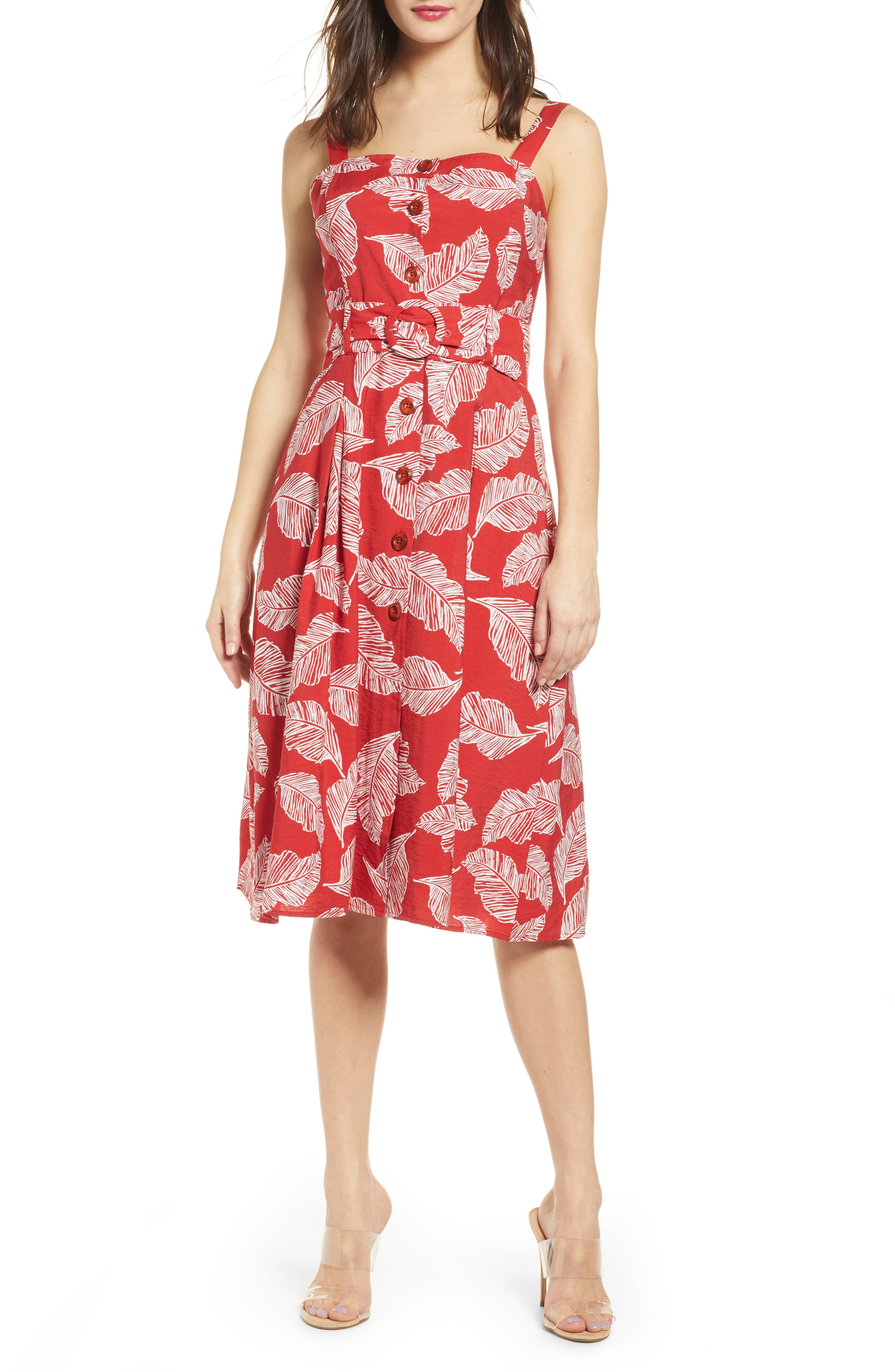 J.o.a. Button Front Fit & Flare Dress, Red