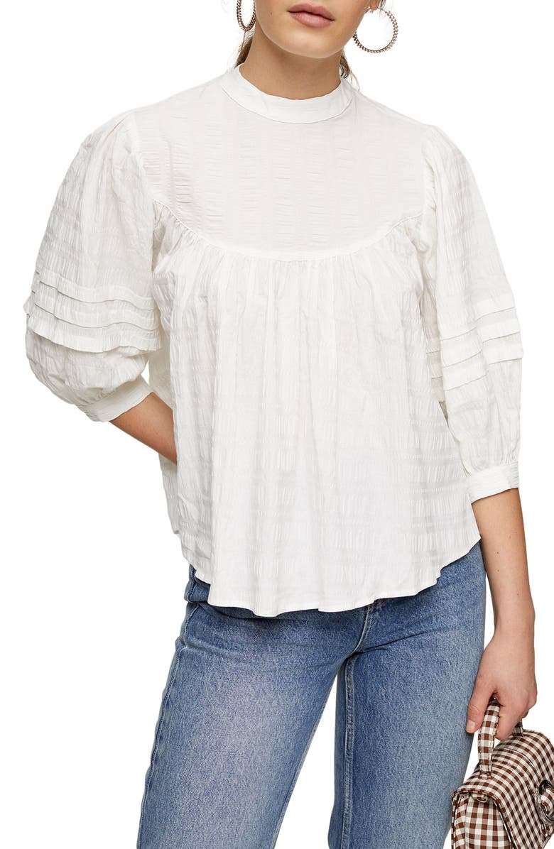 TOPSHOP Textured Balloon Sleeve Top, Main, color, IVORY