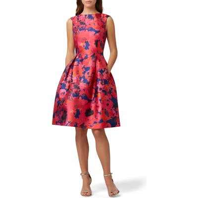 Tahari Mikado Fit & Flare Cocktail Dress, Red