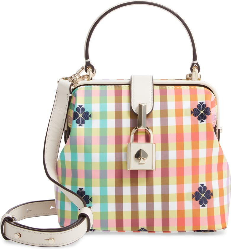 KATE SPADE NEW YORK remedy bella plaid small top handle satchel, Main, color, RED MULTI