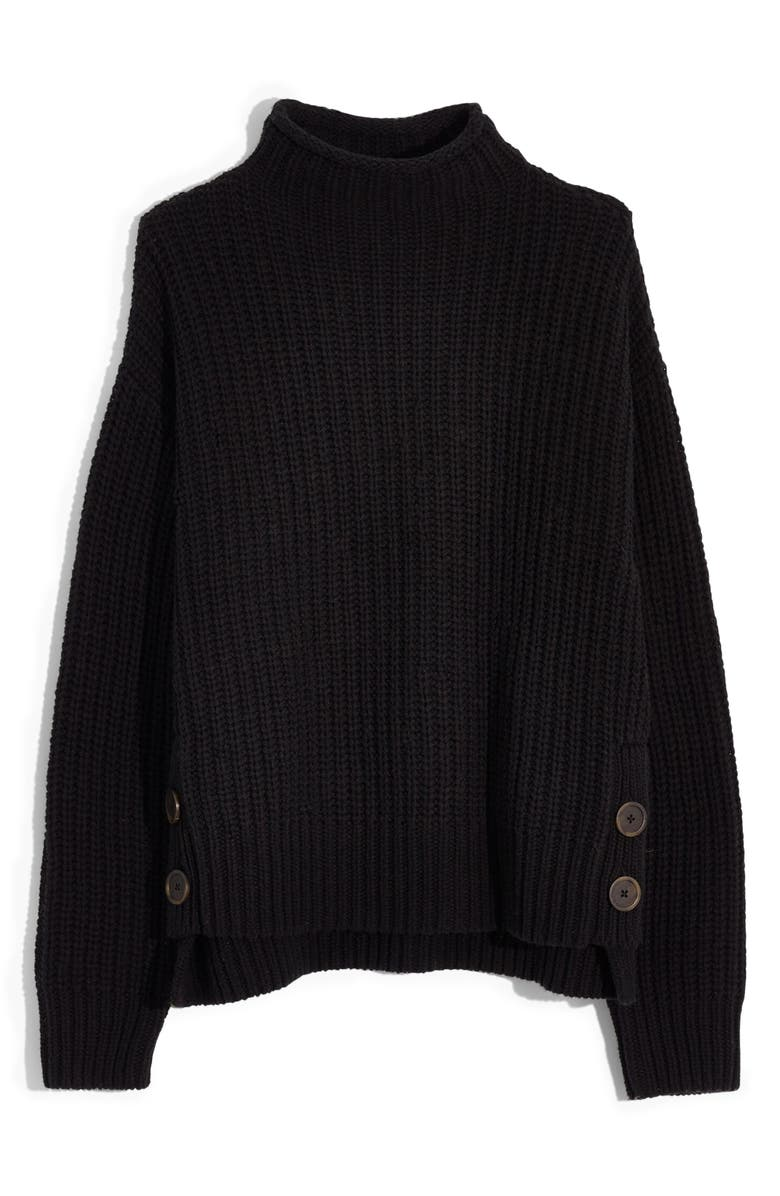 MADEWELL Mock Neck Side-Button Pullover Sweater, Main, color, TRUE BLACK