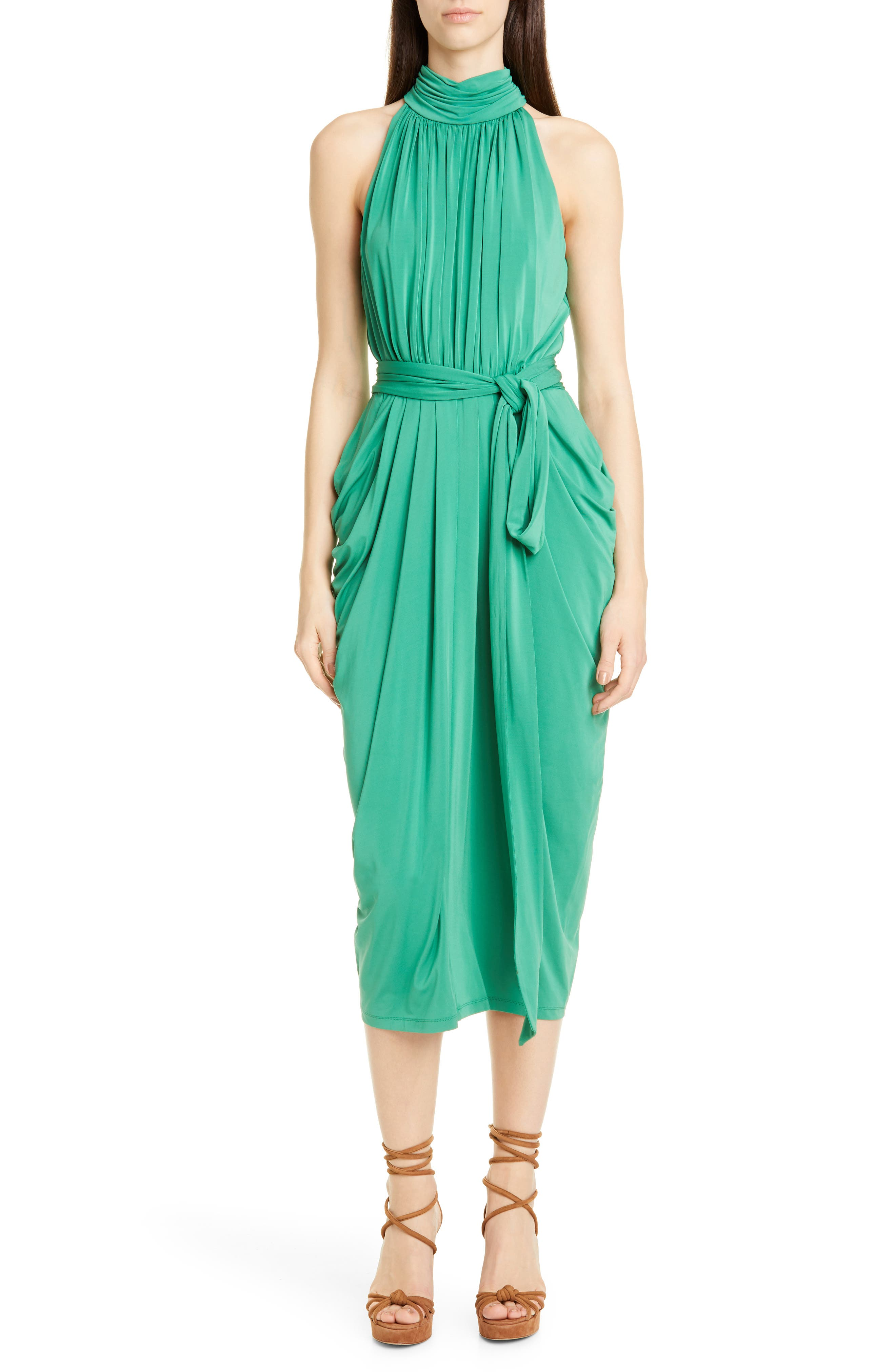 Tommy X Zendaya Halter Neck Drape Midi Dress, 2 (similar to 20W-2) - Green