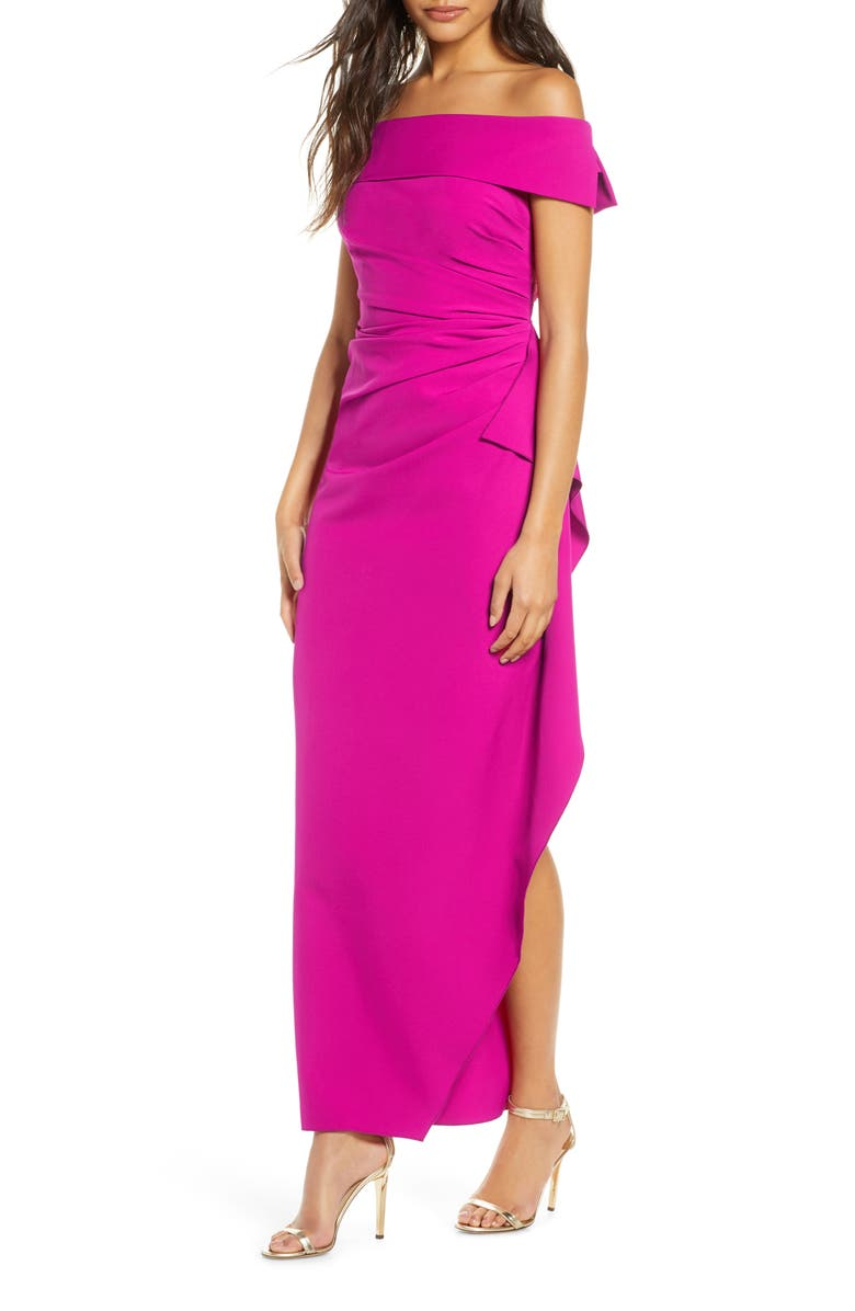 VINCE CAMUTO Off the Shoulder Crepe Gown, Main, color, MAGENTA