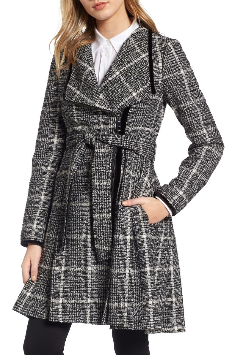 GUESS Velvet Trim Plaid Tweed Coat, Main, color, 001
