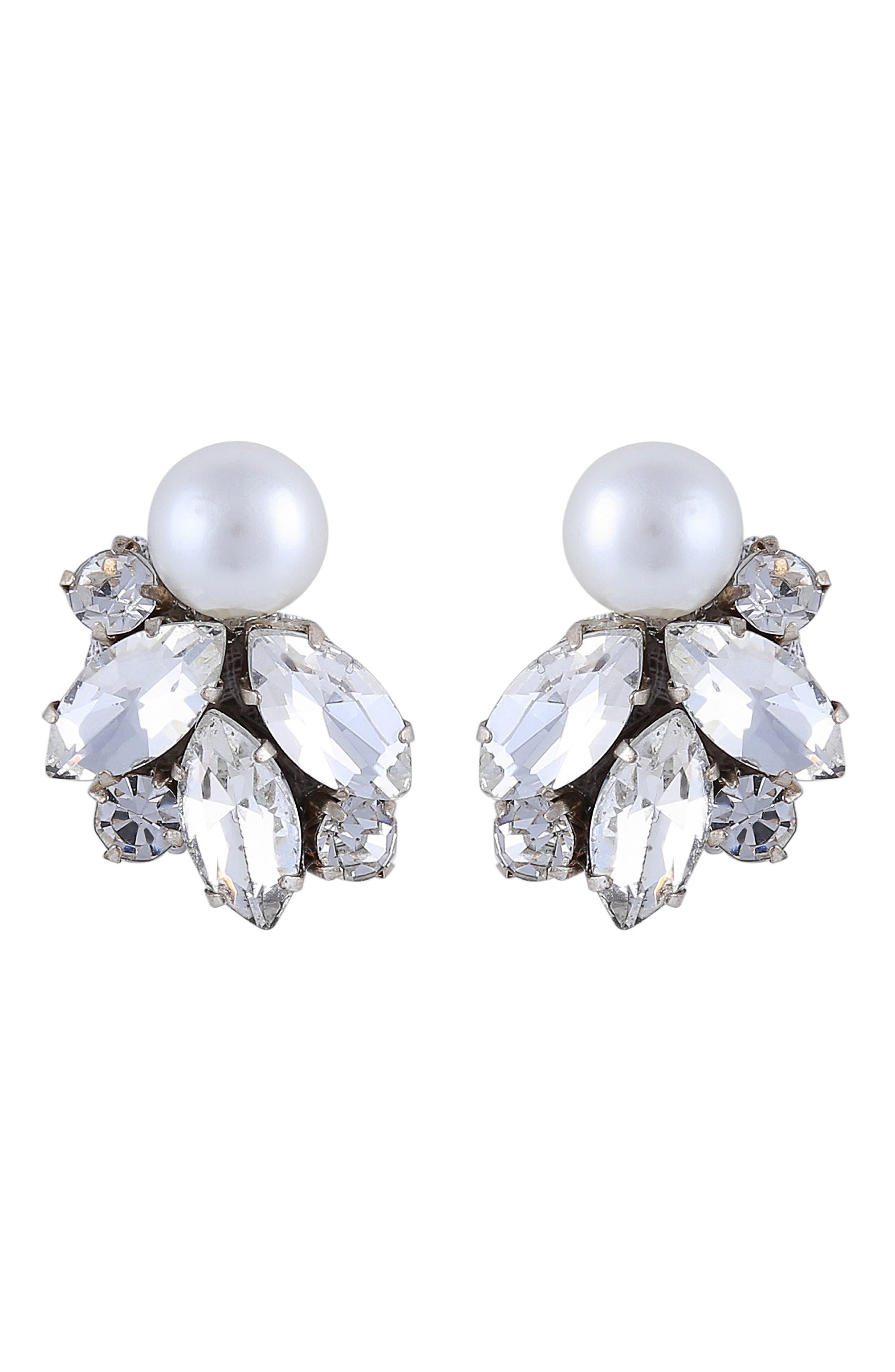 Alessa Imitation Pearl & Crystal Earrings