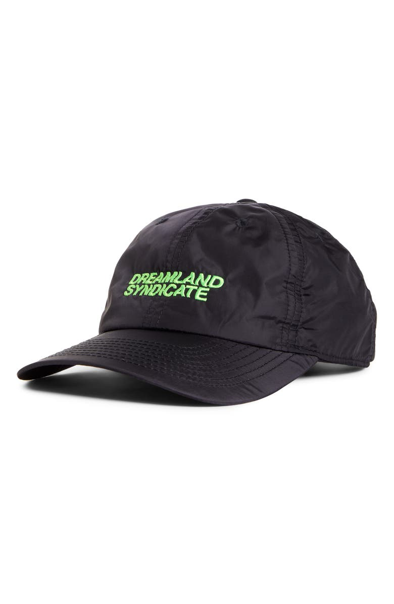 DREAMLAND SYNDICATE Logo Embroidered Baseball Cap, Main, color, BLACK W/ LIME EMBRODERY