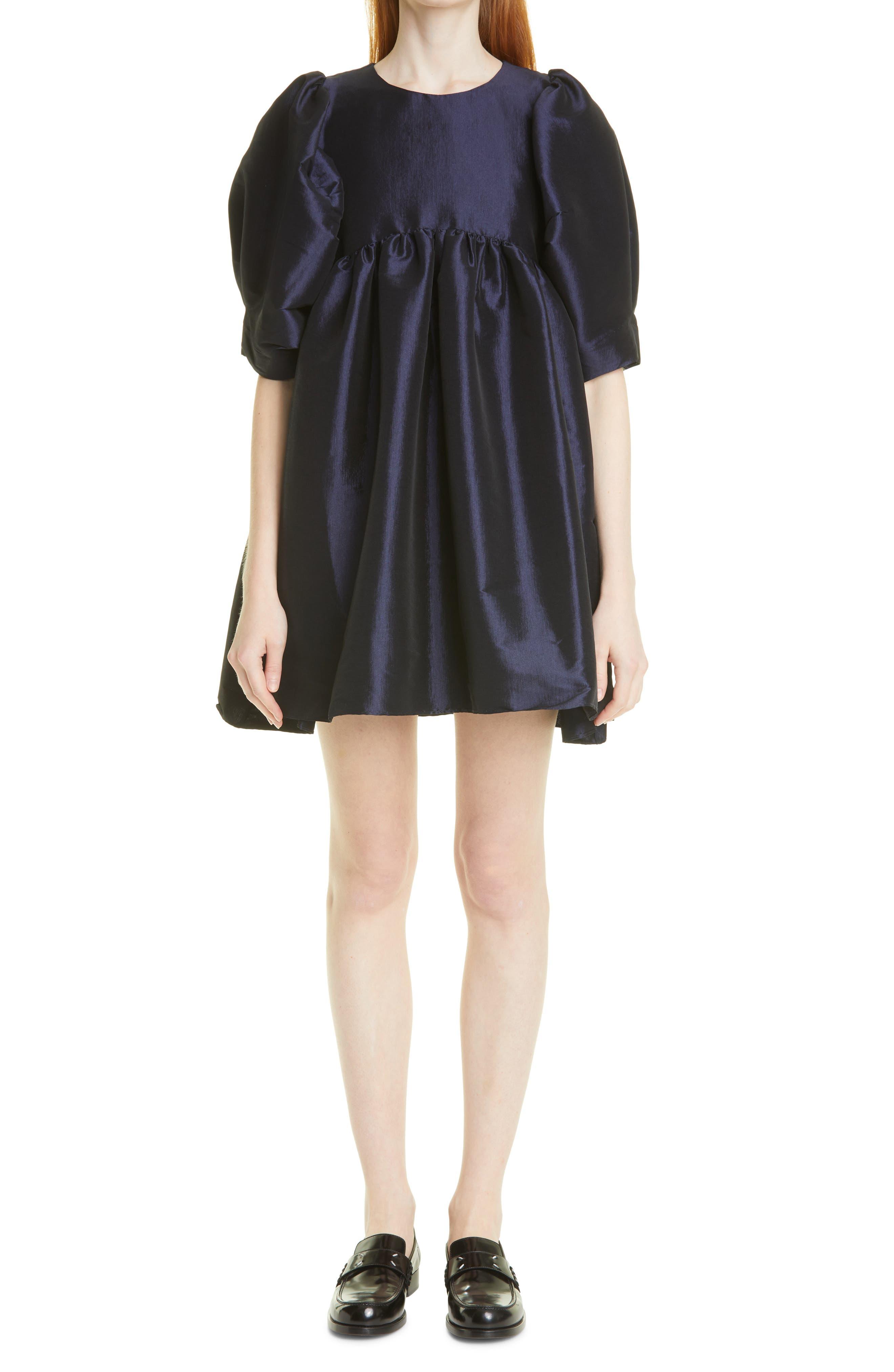 Mathilde Puff Sleeve Silk Blend Taffeta Minidress