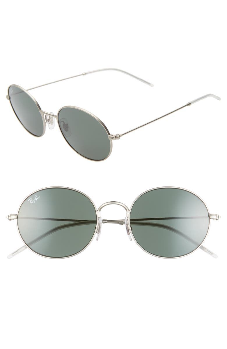 RAY-BAN 53mm Oval Sunglasses, Main, color, RUBBER SILVER/ GREEN SOLID
