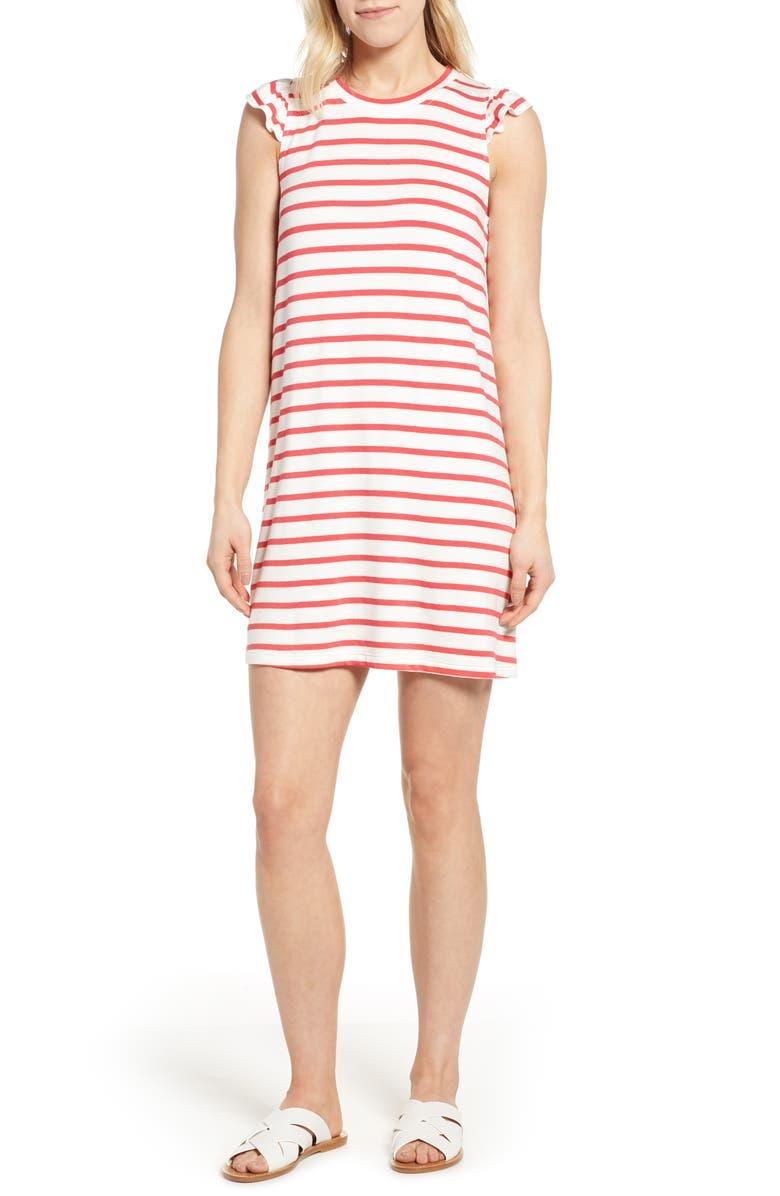 GIBSON x Hi Sugarplum! Laguna Soft Jersey Ruffle Back T-Shirt Dress, Main, color, HIBISCUS STR