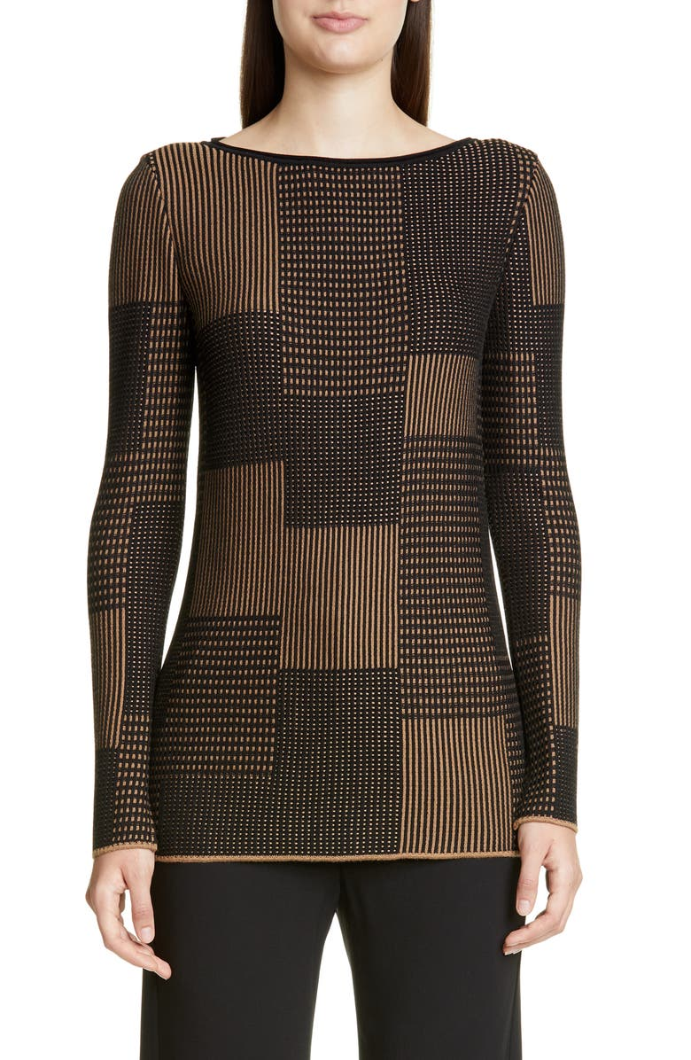 ST. JOHN COLLECTION Textured Patchwork Sweater, Main, color, CAVIAR/ SEPIA MULTI