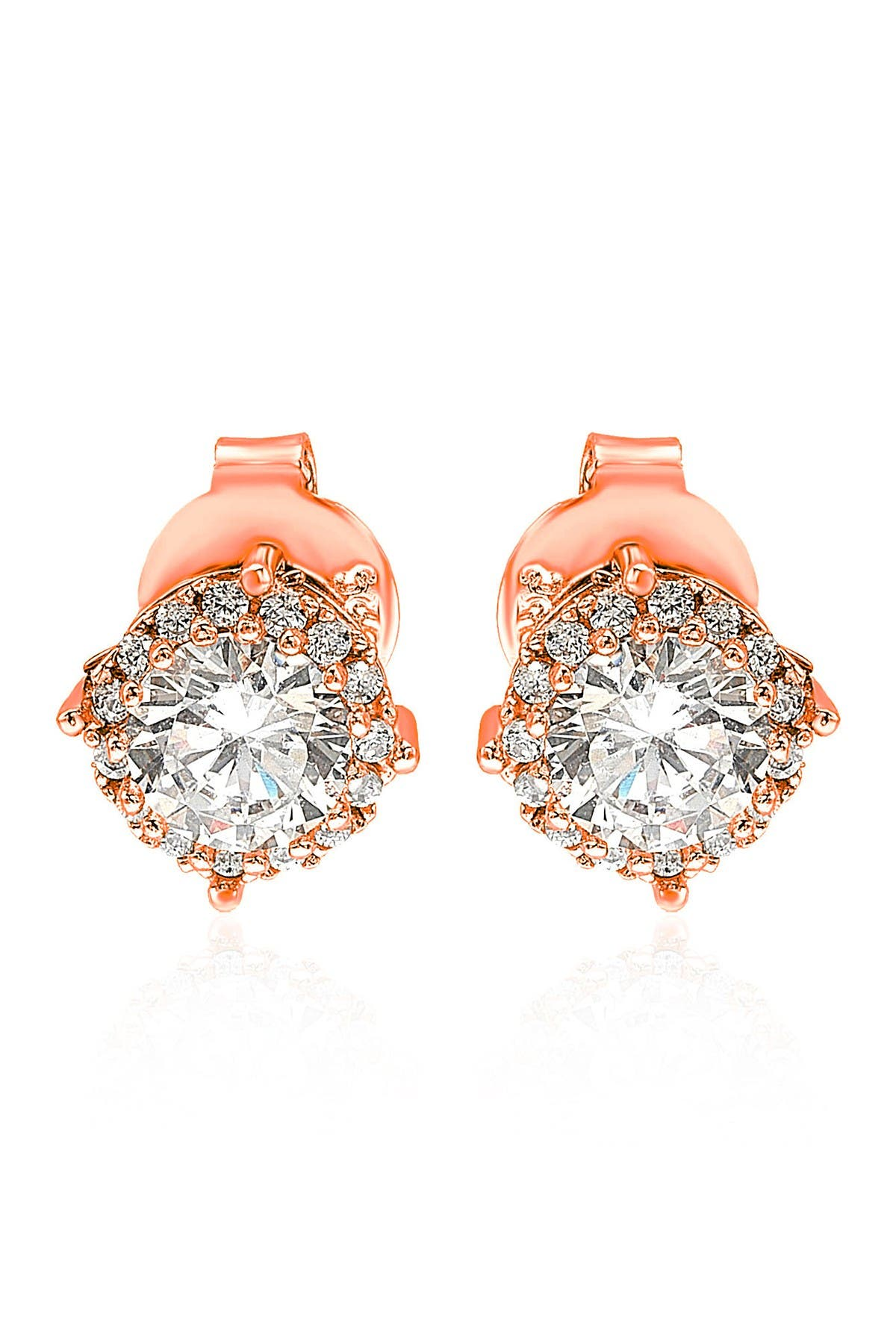 Image of Suzy Levian Rose Sterling Silver CZ Stud Earrings