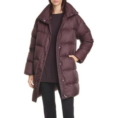 Petite Eileen Fisher Funnel Neck Down Coat, Purple