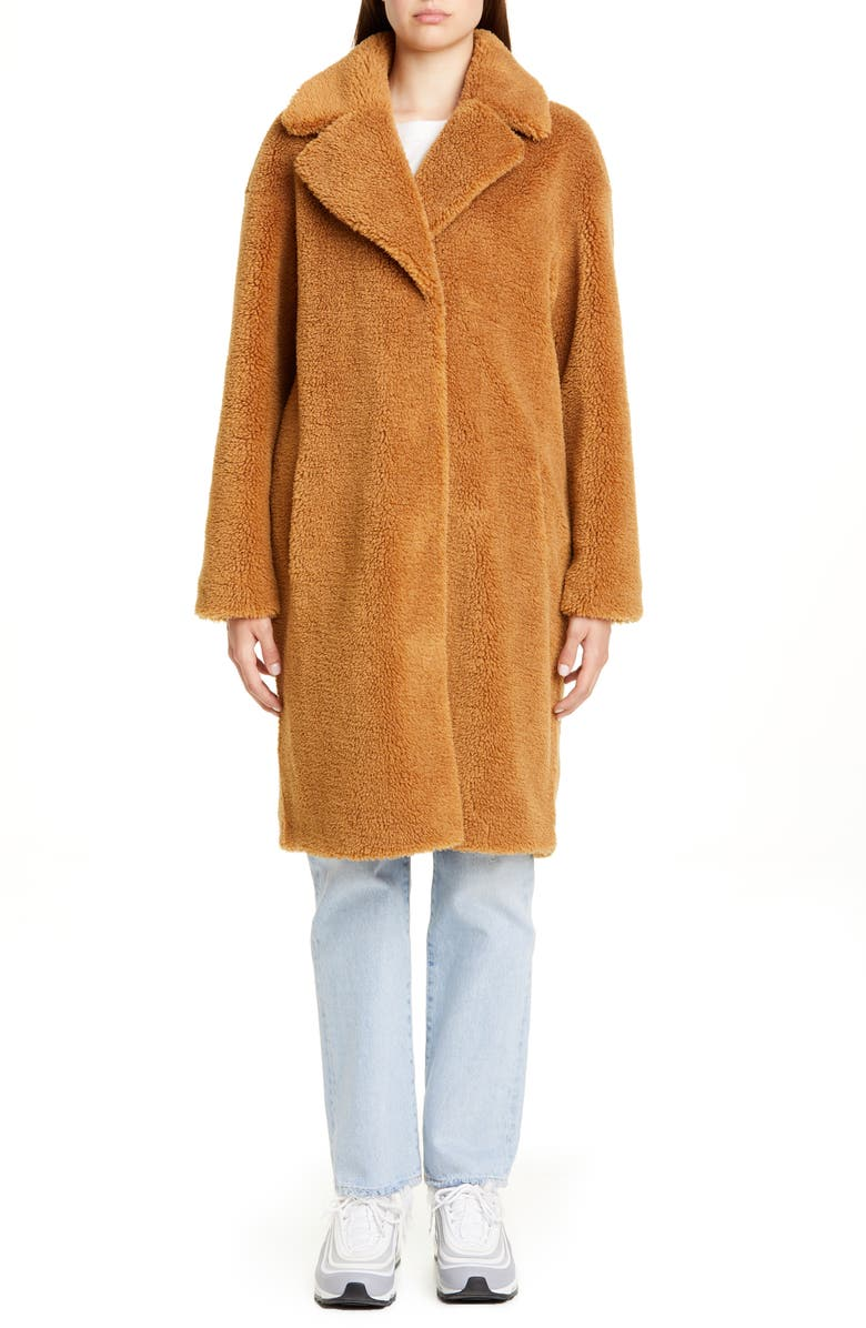 STAND STUDIO Camille Teddy Faux Fur Cocoon Coat, Main, color, NOUGAT