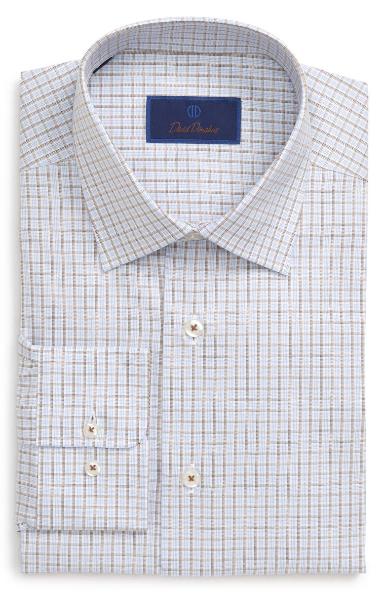 DAVID DONAHUE Regular Fit Plaid Dress Shirt, Main, color, CHOCOLATE
