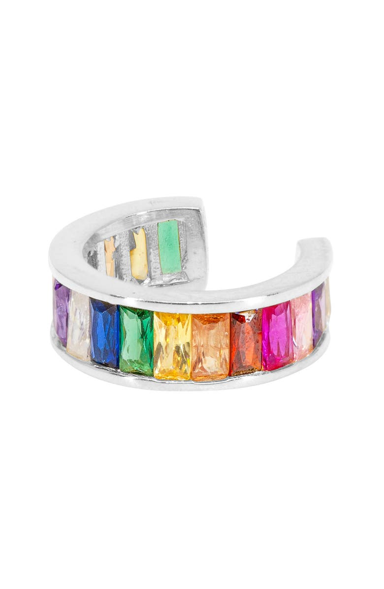 RAGEN JEWELS Jumbo Rainbow Ear Cuff, Main, color, SILVER